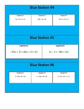Solving Equations (Differentiated Stations + Exit Ticket + HW)