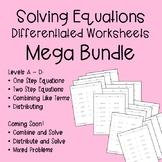 Solving Equations Differentiated Worksheets Mega Bundle