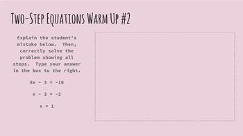 Solving Equations Digital Warm Ups