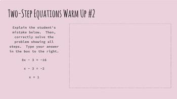 Solving Equations Digital Warm Ups
