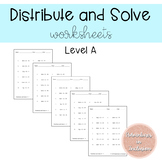 Solving Equations: Distribute and Solve Worksheets - Level A