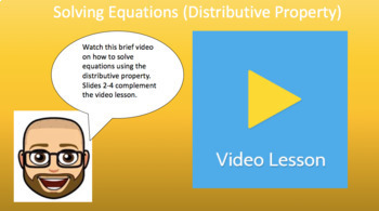 Solving Equations - Distributive Property (Google Form & Interactive Video)