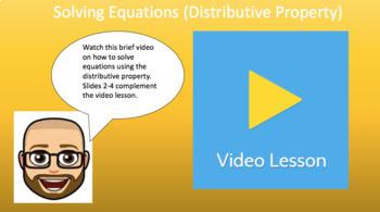 Solving Equations - Distributive Property (Google Form & Interactive Video)