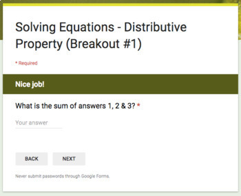 Solving Equations (Distributive Property) – Two Breakout Activities!