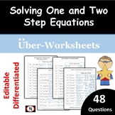Solving Equations: EDITABLE  One and Two Step Eqn 48 Ques