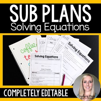 Solving Equations Sub Plans
