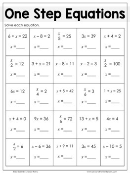 Equations Substitute Math Plans