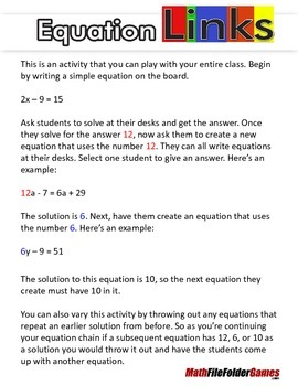 Solving Equations - Equation Links