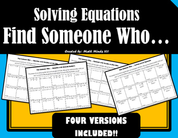 Solving Equations - Find Someone Who