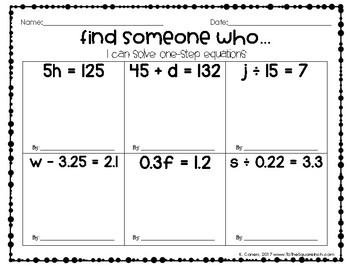 Solving Equations Find Someone Who Activities