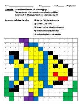Solving Equations Fish Drawing