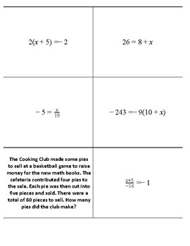Solving Equations Flip Cards