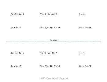 Solving Equations Foldable