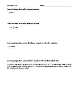 Solving Equations Formative Quiz