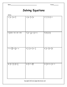 Solving Equations with Variables on Both Sides Fractions Worksheet