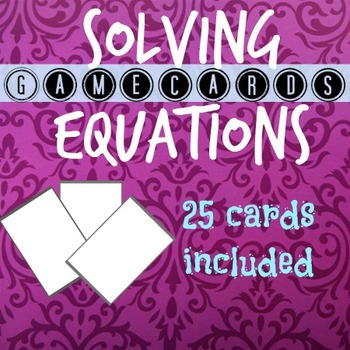Solving Equations Game Cards