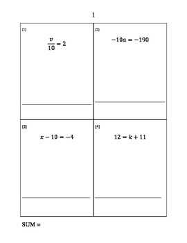 Solving Equations Game for Algebra 1 (Cooperative Learning Sum Race)