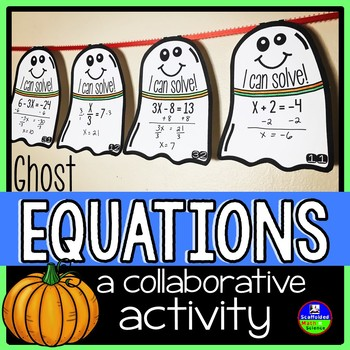 Halloween Solving Equations Middle School Math Pennant Activity