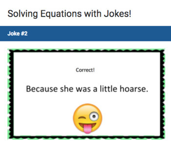 Solving Equations – Google Form with Jokes!