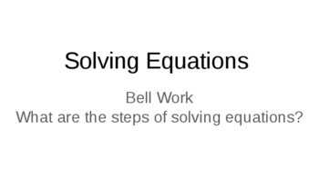 Solving Equations Group Activity