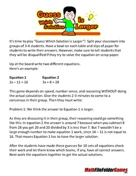 Solving Equations - Guess Which Solution is Larger