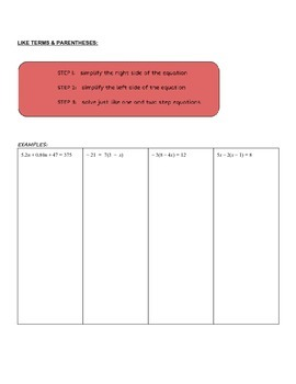 Solving Equations Guided Notes