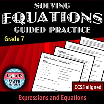 Solving Equations Guided Practice Worksheet