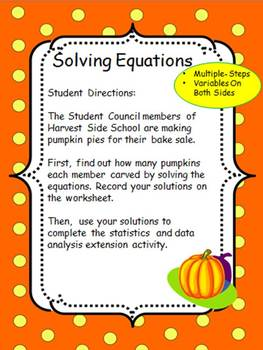 Solving Equations- Harvest Side School- Autumn Theme