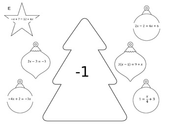 Solving Equations Holiday Activity