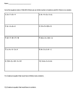 Solving Equations: IMS and NS Notes