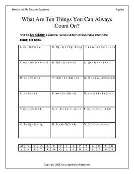 Solving Identity and No Solution Equations Worksheet by Algebra ...