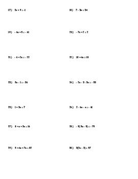 Solving Equations, Inequalities, Percent Equations Unit