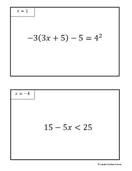 Solving Equations & Inequalities Scavenger Hunt