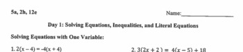 Solving Equations, Inequalities, and Literal Equations