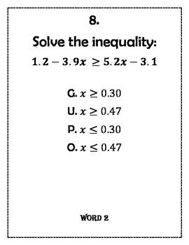 Solving Equations/Inequalities and Ordering Numbers Word Scramble