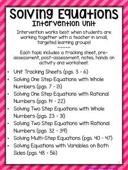 Solving Equations Math Intervention Program