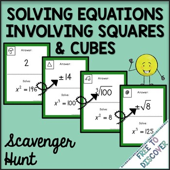 Solving Equations Involving Squares and Cubes Activity - Scavenger Hunt
