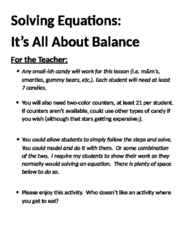 Solving Equations:  It's All About Balance