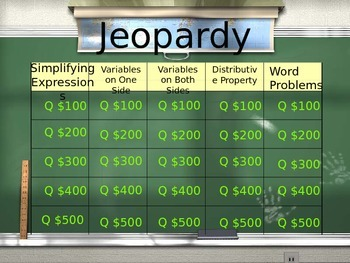 Solving Equations Jeopardy