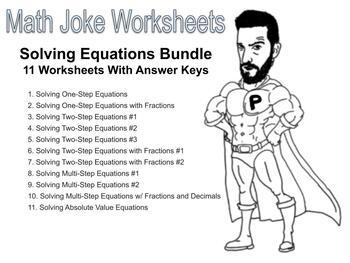 Solving Equations Joke Worksheet Bundle with Answer Keys (11 Total)