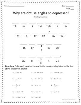 Solving Equations Joke Worksheets