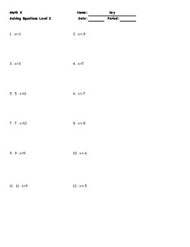 Solving Equations Level 2