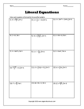 Solving Literal Equations Worksheet By Algebra Funsheets Tpt