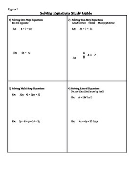 Solving Equations & Literal Notes