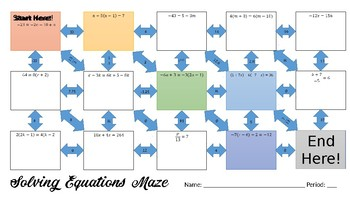 Solving Equations Maze!