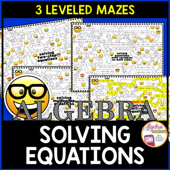 Solving Equations Mazes 3 Differentiated Levels
