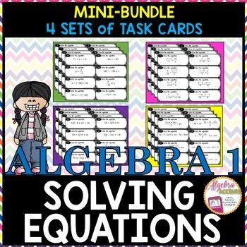 Solving Equations Mini Bundle: 4 Sets of Task Cards