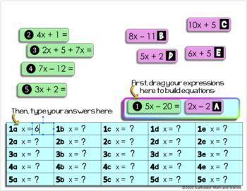 Solving Equations Mix Match Activity