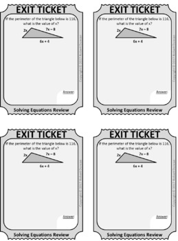 Solving Equations - Mixed Review - Scavenger Hunt and Exit Tickets
