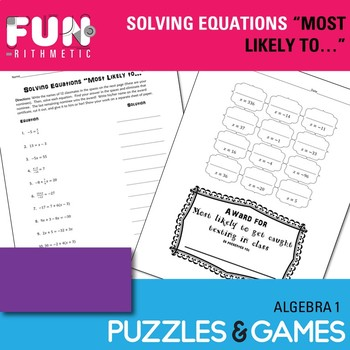 """Solving Equations """"Most Likely to..."""" Award"""